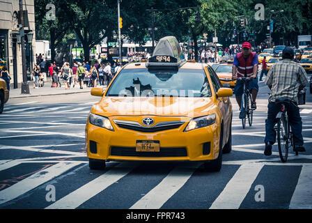 New York Cab Zebra Crossing With Motion Blur New York