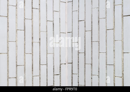 Background of white rectangle brick wall, vertical pattern - Stock Photo