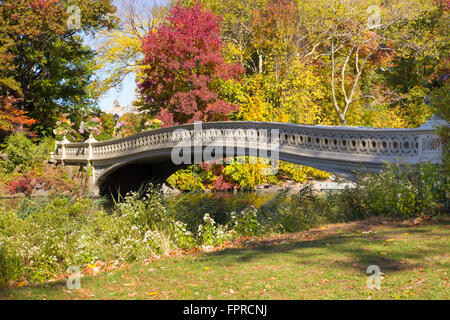 Colorful autumn leaves surround beautiful bow bridge in Central Park, Manhattan in New York City - Stock Photo
