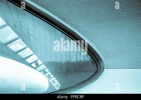 lines, texture and skylight on modern architecture building indoors - Stock Photo