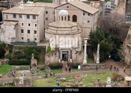 Roman Forum ruins tourists visiting Rome Italy ancient rests destination - Stock Photo