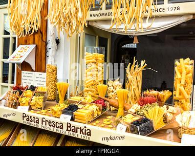 Homemade Pasta Shop in Mykonos, Greece - Stock Photo