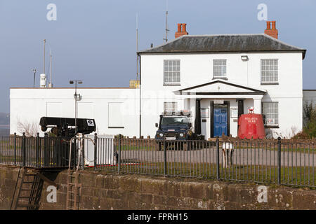 Severn Area Rescue Association (SARA) lifeboat station at Sharpness in Greek Revival former Harbour Master's house - Stock Photo