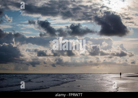 Morning on the beach, Langeoog, Lower Saxony, Germany - Stock Photo