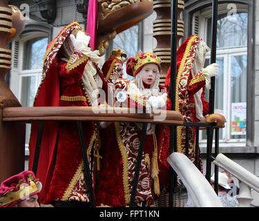 AALST, BELGIUM, FEBRUARY 7 2016: Unknown participants colorfully dressed in costume during the annual carnival parade - Stock Photo