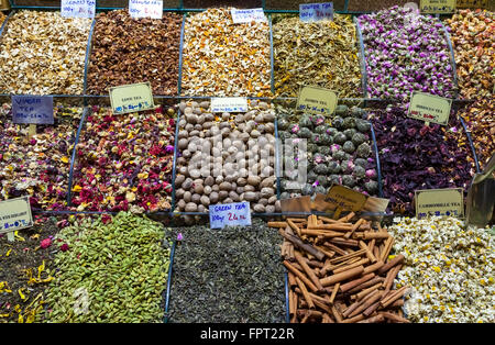 Teas and Spices on Egyptian and the Grand Bazaar in Istanbul. Turkey - Stock Photo