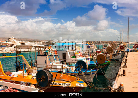 Fishing boats in Paphos harbor. - Stock Photo