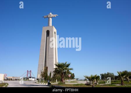 Christ the King (Cristo Rei) monument in Almada, Portugal, National Sanctuary - Stock Photo