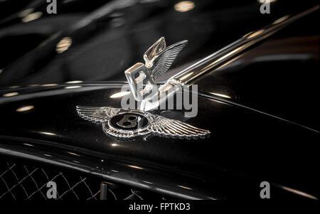 Verona, Italy - May 09,2015: Bentley winged 'B' badge bonnet (hood) ornament. - Stock Photo