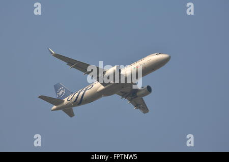 Middle East Airlines Skyteam Airbus A320-214(WL) T7-MRD departing from Heathrow Airport, London, UK - Stock Photo