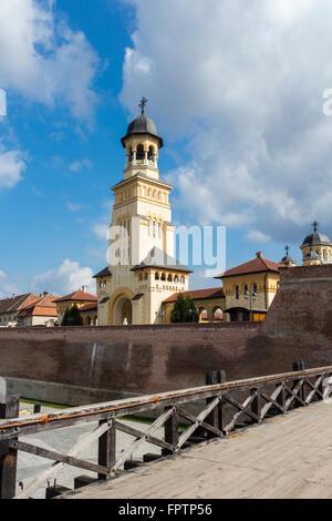 Alba Iulia, Romania - March 13, 2016: Entrance to the Coronation Cathedral in Alba Iulia, Romania - Stock Photo
