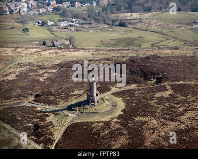 aerial view of the Darwen Tower on Beacon Hill in Lancashire, UK - Stock Photo