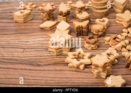 Close-up of different shaped cookies, Munich, Bavaria, Germany - Stock Photo