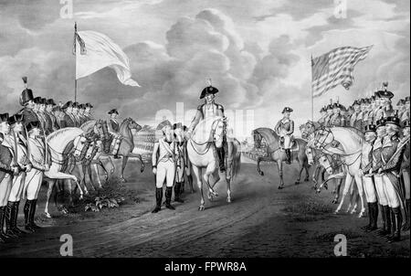 Vintage Revolutionary War print showing the surrender of British troops, to General George Washington and the Continental - Stock Photo