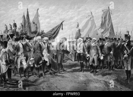 Vintage Revolutionary War print showing the surrender of British troops to General George Washington and the Continental - Stock Photo