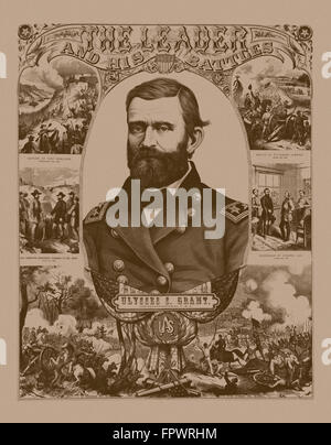 Vintage Civil War poster of General Ulysses S. Grant wearing his military uniform. He is surrounded by scenes of battle he parti Stock Photo