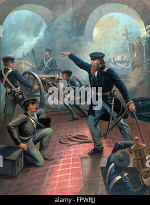 Vintage American History poster of Ulysses S. Grant commanding troops during the Mexican American War. - Stock Photo