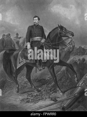 Vintage Civil War print of Union General George McClellan on horseback. - Stock Photo