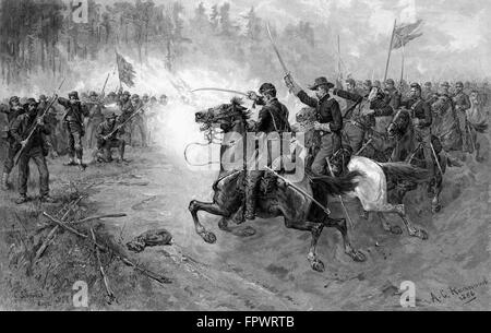 Vintage Civil War print of Union cavalry soldiers charging towards a Confederate firing line. - Stock Photo