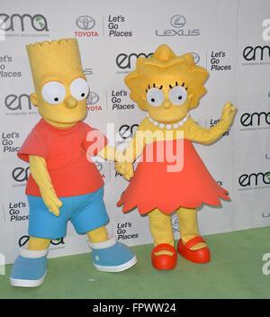 LOS ANGELES, CA - OCTOBER 24, 2015: Bart Simpson & Lisa Simpson characters at the 25th Annual Environmental Media - Stock Photo