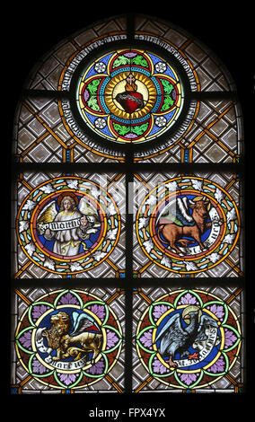 Symbols Of The Evangelists Stained Glass Window In The Parish