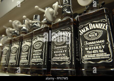 Jack Daniel's Tennessee Whiskey bottle's on display at a Carrefour Supermarket in Malaga Spain - Stock Photo