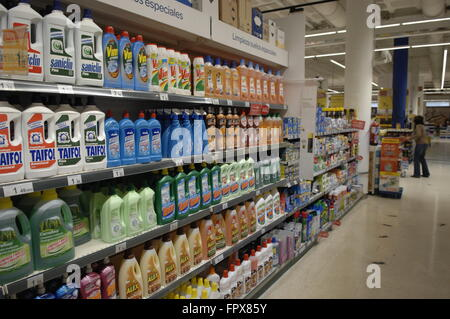 Household cleaning products on display in a Carrefour Supermarket Malaga Spain. - Stock Photo
