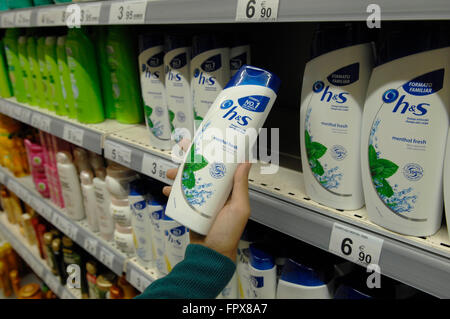 Head & Shoulders shampoo made by Procter & Gamble on display in a Carrefour Supermarket Malaga Spain. - Stock Photo