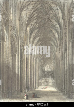 HANTS: Winchester Cathedral nave, antique print 1836 - Stock Photo