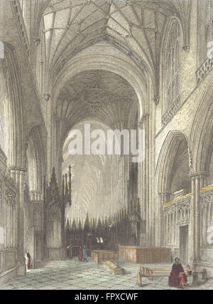 HANTS: Winchester Cathedral choir, antique print 1836 - Stock Photo
