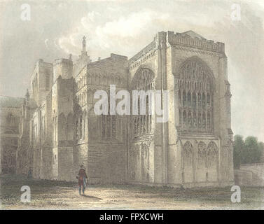HANTS: Winchester Cathedral SE view, antique print 1836 - Stock Photo