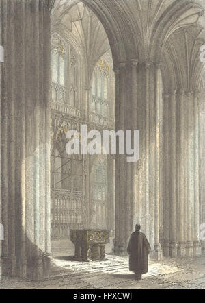 WINCHESTER: Cathedral nave, font Wykeham's Monument, antique print 1836 - Stock Photo