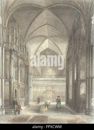 WINCHESTER: Cathedral Presbytery, Waynfleet Beauport, antique print 1836 - Stock Photo