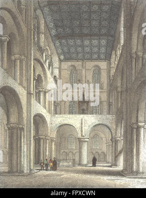 HANTS: Winchester Cathedral North Transept, antique print 1836 - Stock Photo