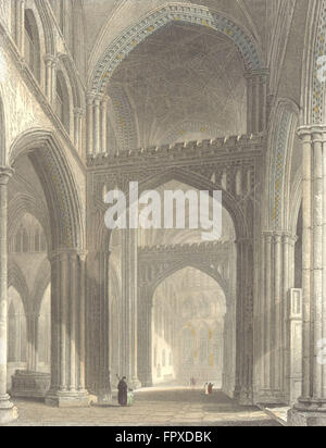 WILTS: Salisbury Cathedral, North Transept, antique print 1836 - Stock Photo
