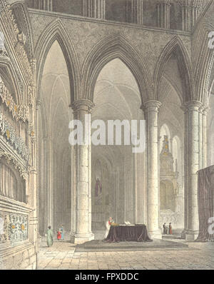 WILTS: Salisbury Cathedral Lady Chapel, antique print 1836 - Stock Photo