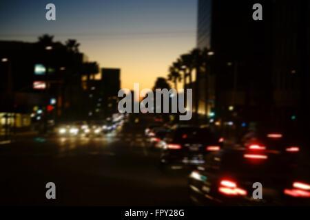 Traffic on Santa Monica Boulevard - Stock Photo