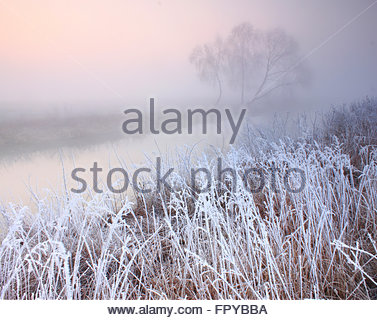 Misty morning with frost on the river in early spring - Stock Photo