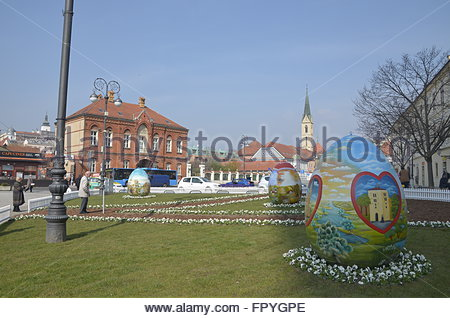 Zagreb,Croatia. 19th March. Croatian Easter Eggs from the Hearth in front of Cathedral. - Stock Photo