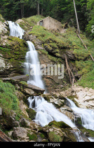 A photograph of Giessbach Falls on Lake Brienz in the Bernese Oberland area of Switzerland. - Stock Photo