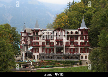 A photograph of the Grand Hotel Giessbach near the Giessbach Falls on Lake Brienz in the Bernese Oberland area of - Stock Photo