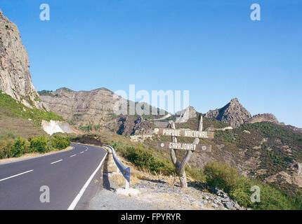 Road to Garajonay National Park. La Gomera island, canary Islands, Spain. - Stock Photo