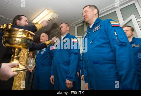 Baikonur, Kazakhstan. 19th Mar, 2016. International Space Station Expedition 47 Soyuz Commander Alexey Ovchinin, - Stock Photo