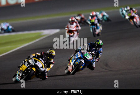 Doha, Qatar. 20th Mar, 2016. The champion swiss Moto2 rider Thomas Luthi (C) of the Garage Plus Interwetten team, - Stock Photo