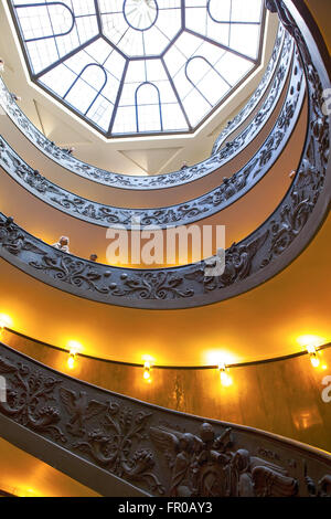 ROME, ITALY - March 02, 2016 : Top view of famous stairs with round shape at Vatican Museum. - Stock Photo
