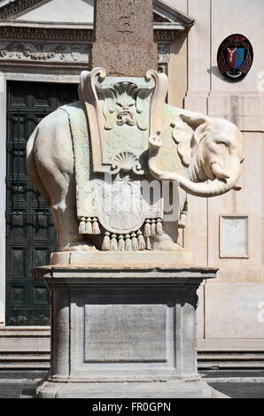 Beautiful monument of Elephant by Bernini on Piazza della Minerva in Rome, Italy - Stock Photo