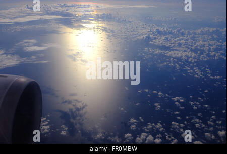 View of beautiful cloud of airplane from window - (Soft Focus) - Stock Photo