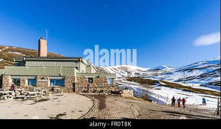 Cairngorm Mountain lower funicular railway installation on Cairn Gorm in Cairngorms National Park Scotland - Stock Photo