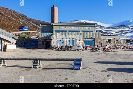 Cairngorm Mountain lower funicular railway installation on Cairn Gorm in Cairngorms National Park Scotland with - Stock Photo
