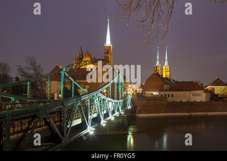 Evening in Wroclaw, Poland. European Capital of Culture 2016. - Stock Photo